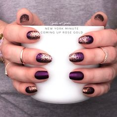 Color Street nail strip combo! What is Color Street? Color Street is 100% nail polish strips, no heat or tools required! Coming Up Rose Gold glitter from the Spring 2019 Collection makes a beautiful manicure when paired with New York Minute! Perfect for busy women!