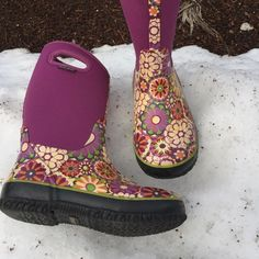 Girls Bogs Boots Girls Bogs boots that are great for rain or snow. They keep feet warm in weather as cold as -30. Has slight wear but in otherwise great condition! Girls size 4, fits like women's 6. Bogs Shoes Winter & Rain Boots