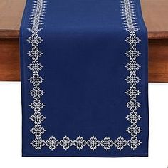 Create a beautiful tabletop with this Mosaic Tile Embroidered Table Runner. In rich cobalt blue, this elegant runner adds the perfect finishing touch to any room. Scandinavian Tablecloths, Mantel Azul, Needlepoint Designs, Handbag Patterns, Home Made Soap, Mesh Fabric, Mosaic Tiles, Bedding Shop, Table Runners
