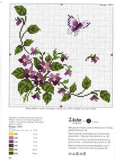 maartse viooltjes - kruissteekpatroon