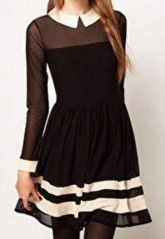 Black Long Sleeve Contrast Sheer Mesh Yoke Dress