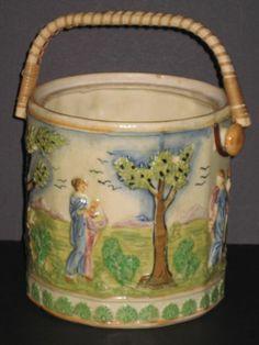 Antique Porcelain Japanese Biscuit Jar Woven Handle Cookie Jar Made in Japan