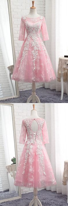 Pretty Pink Homecoming Dresses,A-line Scoop Neck Short Cocktail Dresses, Tulle Tea-length Formal Evening Gowns,Appliques Lace Party Dresses, 3/4 Sleeve Prom Dresses