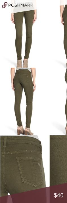 """RAG & BONE Skinny Jeans legging Distressed Army 28 Figure-flaunting skinny jeans cut from supersoft stretch denim are cast in a versatile olive-green wash that makes this pair a super-fresh addition to your wardrobe. Color accurate in first three photos. Came pre-distressed, good condition with minor stretching visible as seen near zipper but cant been seen when worn - typical of all stretch 👖  30"""" inseam; 10"""" leg opening; 9 1/2"""" front rise; 14 1/2"""" back rise (sz 29- 1 size up). 55% cotton…"""
