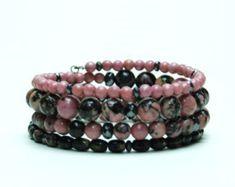 Pink Rhodonite with Black Matrix Natural Stone Bracelet - Layered Gemstone Pink and Black Memory Wire Bracelet - Handmade Jewelry