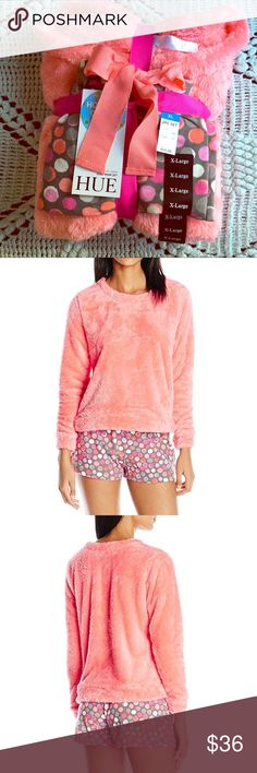 Plush Pajama 2-Piece Set - NEW! Tag Attached & Never Unpackaged - Long Sleeve Plush/Fleece Top (Coral) - Soft Jersey Boxer Shorts (Multi-Colored Dots) - Boxers Feature Elastic Waist Band & Ribbon Drawstring HUE Intimates & Sleepwear Pajamas