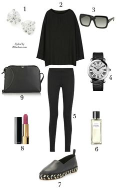Outfit of the Day RDuJour Fashion Blog - The Row Oversized Top - The Row Stratton Strech Leggings - Franck Muller Ladies Stainless Steel Watch - Chanel Beauty Pink Lipstick - Chanel Beauty Gardenia Eau de Parfum - The Row Leather Shoulder Bag