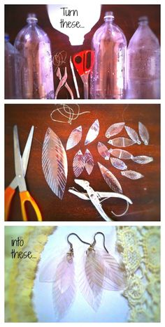 Upcycle: Plastic bottles turn over a new leaf. - Turn plastic bottles into le. - Upcycle: Plastic bottles turn over a new leaf… – Turn plastic bottles into leafy (feathery? Recycled Jewelry, Recycled Crafts, Diy And Crafts, Plastic Bottle Crafts, Recycle Plastic Bottles, Diy Bottle, Plastic Jewelry, Recycled Bottles, Recycled Glass