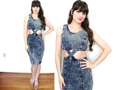 1980s Denim Dress / 80s Acid Wash Cut Out Wiggle Dress by Coldfish
