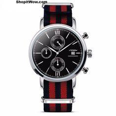 Men's Sports Chronograph Wrist Watches, Nylon Watchband, Geneva Quartz Timing.