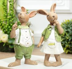 2 Pieces/lot American country resin rabbit ornaments Mariage decor creative home decorations Party Wedding Gift
