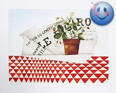 Lithograph by the American artist Mary Faulconer, circa 1980, is a realist still life with #strawberry plant and newspaper. Signed and numbered in pencil. Editio...