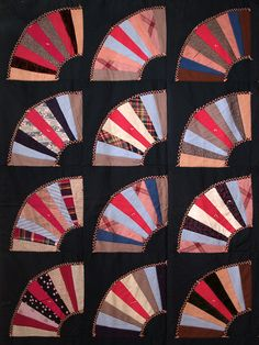 Patchwork wool quilt made by Mrs. Harry (Fannie) West, American, ca.. 1900, KSUM 1984.7.14.