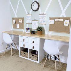Home Learning, Learning Spaces, Kids Homework Room, Kids Desk Space, Room Decor Bedroom, Kids Bedroom, Double Desk, Kids Office, Multipurpose Room
