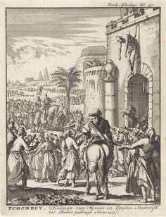 Tuman bay II, sultan van Egypte, opgehangen boven de stadspoort van Istanbul, 1517, Jan Luyken, Jan Claesz ten Hoorn, 1698