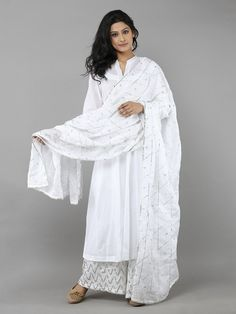 White Cotton Gota Dupatta