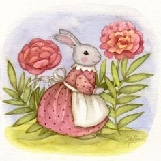 Art 'Peony Rabbit - Available' - by Carmen Medlin from Available for Purchase Rabbit Drawing, Rabbit Art, Cute Animal Illustration, Graphic Illustration, Animal Illustrations, Easter Paintings, Baby Animal Drawings, India Art, Bunny Art