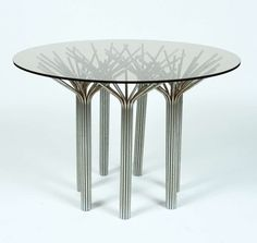 Gerald McCabe; Chromed Metal and Glass Table, 1960s.