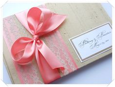 coral wedding guest book with bow!