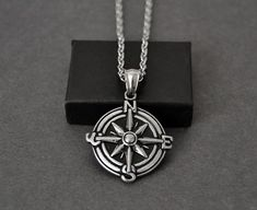 Mens Compass Necklace, Silver Compass Necklace for Men, Mens Pendant Necklace, Gifts for Him, Mens J Compass Necklace, Star Necklace, Men Necklace, Pendant Necklace, Japanese Jewelry, Heart Keyring, Chains For Men, Stainless Steel Chain, Boyfriend Gifts
