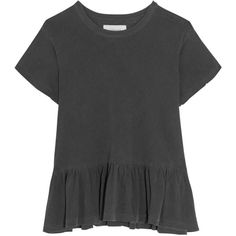 The Great The Ruffle slub cotton-jersey T-shirt (22.885 HUF) ❤ liked on Polyvore featuring tops, t-shirts, shirts, ruffle tee, slim fit shirts, ruffle shirt, ruffle hem shirt and ruffle top