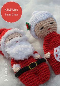 Mrs Hooked - Mr and Mrs Santa Claus - Dutch - Free Crochet Santa, Free Crochet, Mr Mrs, Sock Dolls, Fabric Animals, Minis, Christmas Knitting, Crochet Christmas, Afghan Crochet Patterns