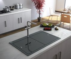 Samoa granite sink with glass covers
