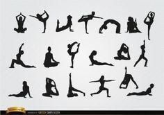 Ejercicios de yoga siluetas vector