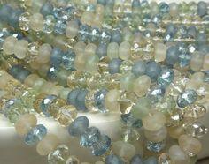 7x4mm Faceted Beach Glass Mix Firepolished Czech by beadsandbabble, $5.99