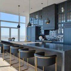 32 Stunning Modern Contemporary Kitchen Cabinet Design - Home Design Contemporary Kitchen Cabinets, Black Kitchen Cabinets, Kitchen Cabinet Design, Black Kitchens, Kitchen Black, Contemporary Kitchens, Country Kitchen, Kitchen Island, Black Interior Design