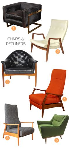 Milo Baughman // Mid-Century Designer one - Pony Hair chair // two - scoop chair // three - leather club chair // four - Recliner manufactured by James Inc // five - recliner // six - armchair //