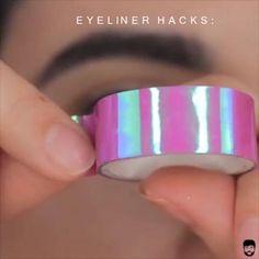 Eyeliner Hacks, Top Eyeliner, How To Do Eyeliner, Makeup Tutorial Eyeliner, No Eyeliner Makeup, Skin Makeup, Eyeliner Styles, Eyeliner Liquid, Simple Eyeliner Tutorial