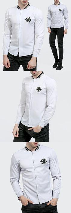 New Fashion Casual Sun Printed Shirt Long Sleeve Stand Collar Slim Fit Men Shirt Business Mens Autumn Shirts Clothes M-2XL