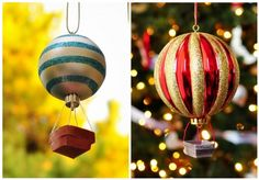 How To: Hot Air Balloon Ornament by The Cheese Thief.I have been wanting a Hot Air Balloon ornament! Funny Christmas Ornaments, Noel Christmas, Christmas Balls, Diy Christmas Gifts, Christmas Lamp, Diy Ornaments, Ball Ornaments, Homemade Christmas, Holiday Crafts