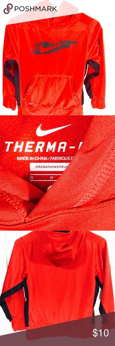 Nike Therma Fit Kids Small Training Hoodie red Solid red background with black sleeve and side insets Nike Other