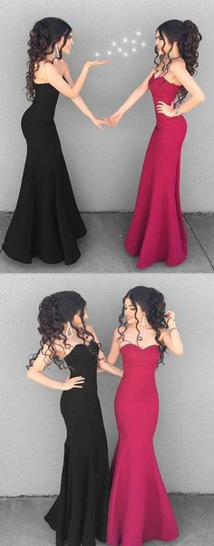 2018 long prom dress bridesmaid dress, strapless black mermaid long prom dress bridesmaid dress, red mermaid long prom dress bridesmaid dress, best friends