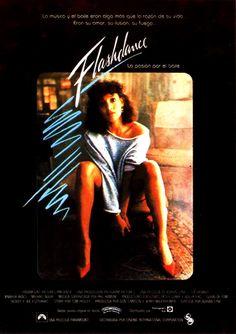 Flashdance (1983) de Adrian Lyne. Alex Owens es una joven huérfana que sueña con llegar a ser bailarina. Para poder vivir trabaja en una fábrica de día como soldadora y de noche en un club nocturno bailando. Movies, Movie Posters, Nightclub, Film Posters, Ballerinas, Musica, Live, Night, Films
