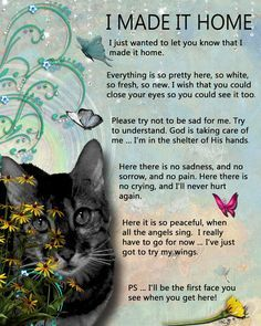 I Made It Home : A beautiful sentiment that's intended to help bring peace to those who have lost a very special Friend ~~ Click on the pick to access more pet-themed In Memoriums from my Facebook page. (I am so sorry for your loss)
