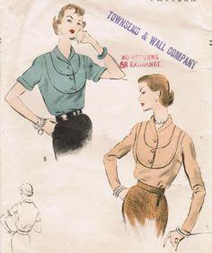 1950s Vogue 7978 Vintage Sewing Pattern Misses' Blouses Size 14 Bust 32