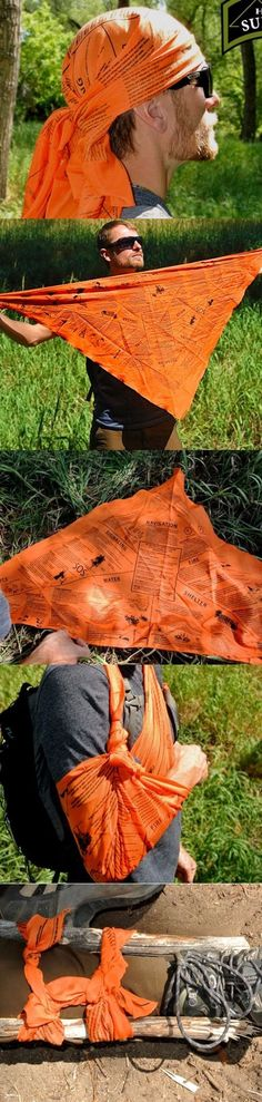 Head for Survival® ORANGE Triangular Bandana Cravat with Survival Information @thistookmymoney