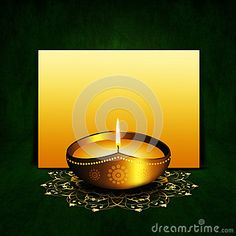 Oil lamp with place for diwali greetings over dark green background