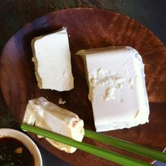Homemade Meyer lemon-scented silken #tofu leftover from the weekend. It didn't unmold perfectly but it still tasted great, especially with a dunk in Japanese seasoned soy (doctored up, umami laden soy sauce).