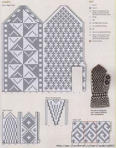 Mittens Part 3 Knitted Mittens Pattern, Knit Mittens, Knitted Gloves, Knitting Socks, Knitting Charts, Knitting Patterns, Free Knitting, Crochet Chart, Knit Crochet