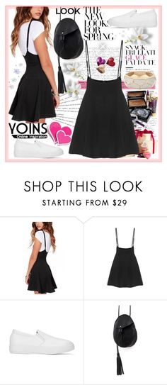 """Black Skater Skirt With Flouncing Hem"" by sirena39 ❤ liked on Polyvore featuring Katie, Collistar and ban.do"