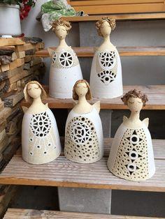 - Her Crochet Clay Design, Ceramic Design, Clay Art Projects, Projects To Try, Ceramic Pottery, Ceramic Art, Clay Angel, Diy Angels, Ceramic Angels