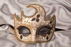 Masquerade Mask - Moon Shaped with Gold Trim ~ LUNA GOLD