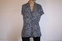 CHARTER CLUB Shirt Top Size L Animal Print Spandex Stretch Short Sleeve Womens #CharterClub #KnitTop #Casual
