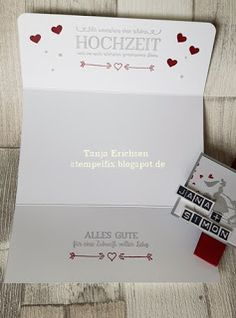 personalisierte Karte zur Hochzeit mit Stempeln von Stampin Up