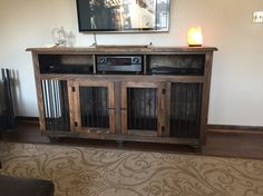 Entertainment Center / Pet Kennel by BeardedWoodButcher on Etsy