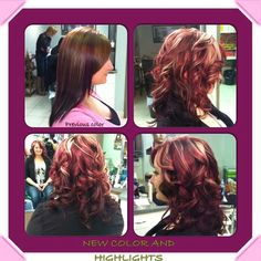 Raspberry with blonde streaks and burgundy underneath